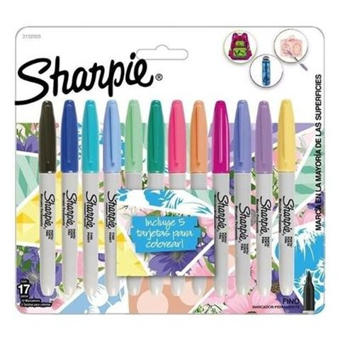 Marcador Sharpie set x12 Fino (Fibra) Tropical + 5 Tarjetas para Colorear