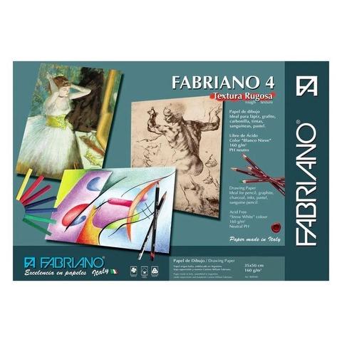 Hoja Blanca 35x50 de Dibujo Fabriano 4 Rugoso 160grs x10 Hojas