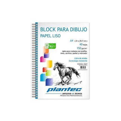 Block Plantec A4 Liso 150gr 40h Espiral Lateral