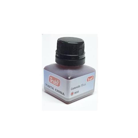 Tinta China Trabi 15cc. Común color Rojo