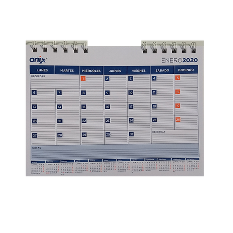 Calendario 2020 Onix 17x23cm