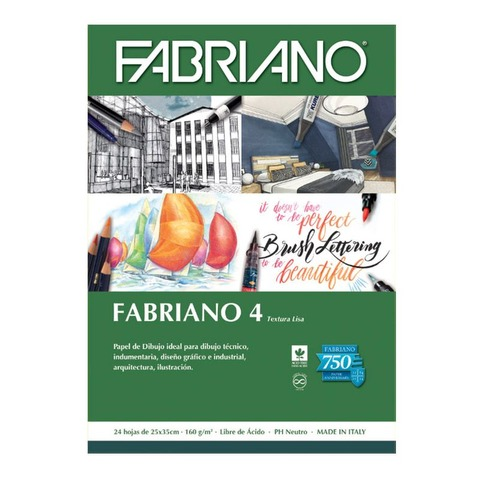 Block Fabriano 4 Liso 160gr 25x35 (24h)