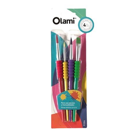 Pack de Pinceles Escolares x 4 Sintéticos Olami