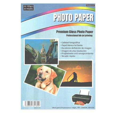 Hoja A4 Inkjet Glossy 180gr x20 (Fotografico)