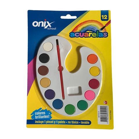 Acuarela Onix 12 Pastillas Paleta Blanda Ovalada + Pincel