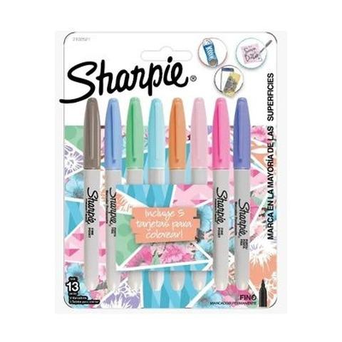 Marcador Sharpie set x 8 Fino (Fibra) Pastel + 5 Tarjetas para Colorear