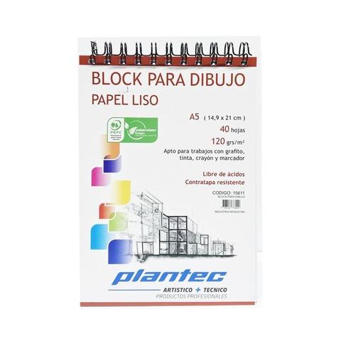 Block Plantec A5 Liso 120gr 40h Espiral Superior