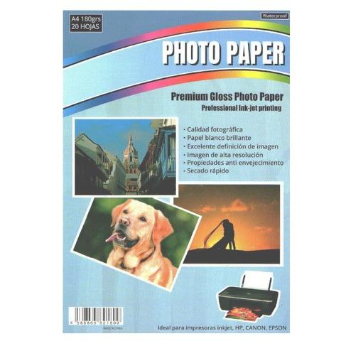 Hoja A4 Inkjet Glossy 150gr x20 (Fotografico)