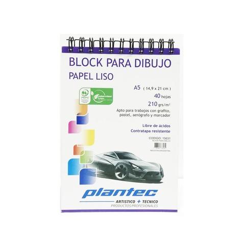 Block Plantec A5 Liso 210gr 40h Espiral Superior