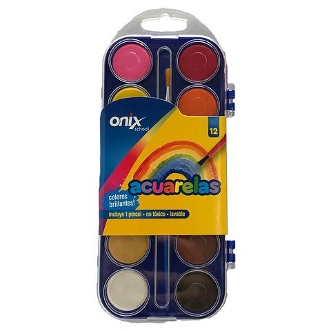 Acuarelas Onix X12 Caja Plástica + Pincel