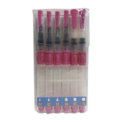 Pincel para Acuarelar MIAO x6 Redondos + Planos c/ Dosificador