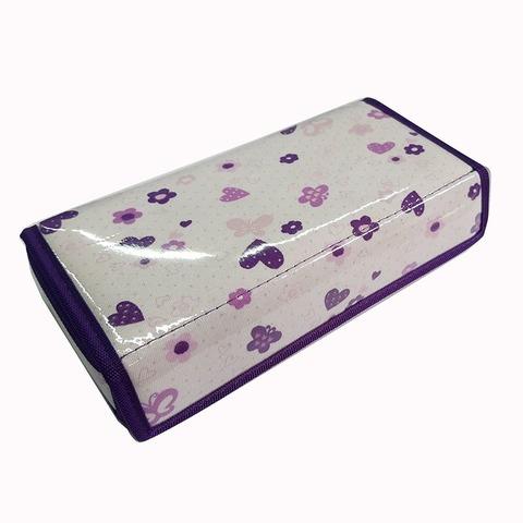 Cartuchera D&P Caja con abrojo 604F Blanca corazones y flores lilas