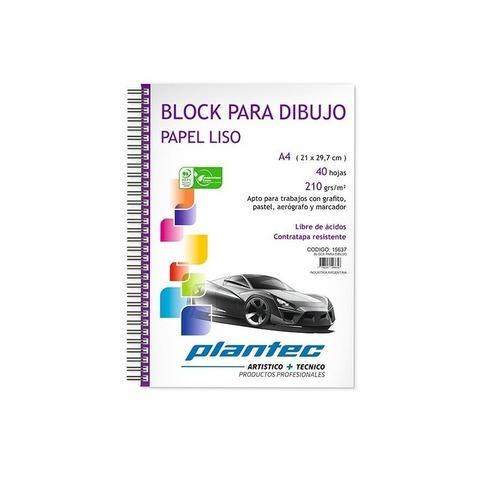 Block Plantec A4 Liso 210gr 40h Espiral Lateral