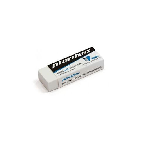 Goma de Borrar Lápiz Plantec Antibacterial Blanca Chica