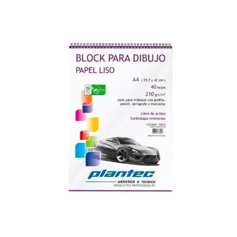 Block Plantec A4 Liso 210gr 40h Espiral Superior