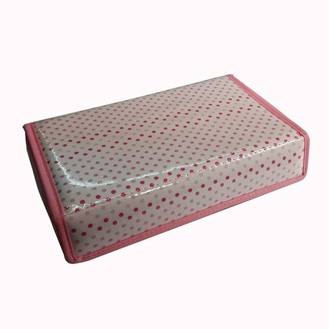 Cartuchera D&P Caja con abrojo 605F Blanca lunares rosa