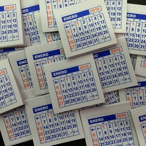 Calendarios 2019 Mignon 5,5x5cm x500 unidades