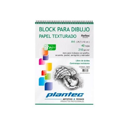 Block Plantec A4 Rugoso 210gr 40h Espiral Superior