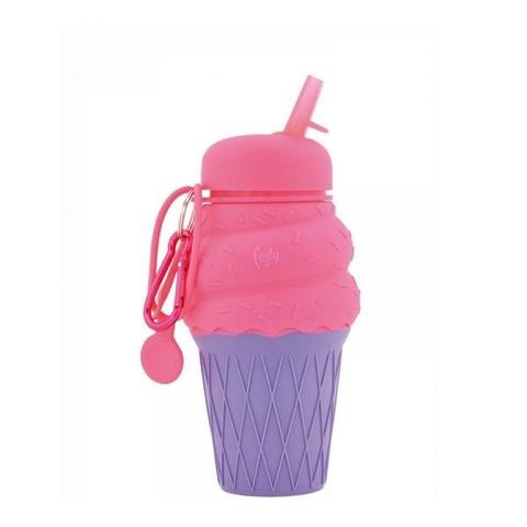 Botella Reutilizable Footy Silicona Helado Rosa/Violeta