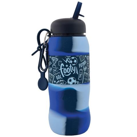 Botella Reutilizable Footy Silicona Desplegable Azul