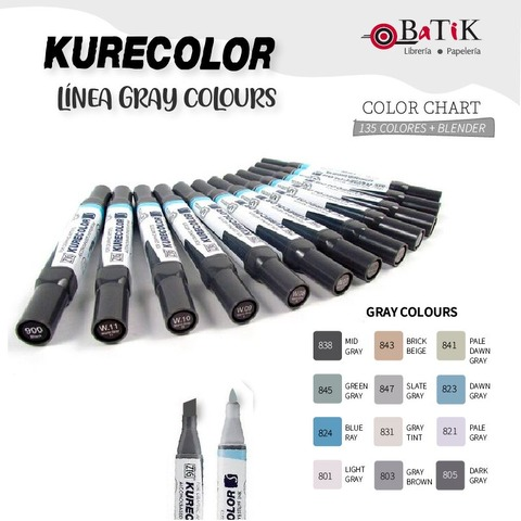 Marcador Kurecolor - Línea: Gray Colours (grises)