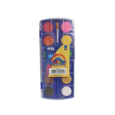 Acuarela Onix 12 Pastillas Caja Plástica