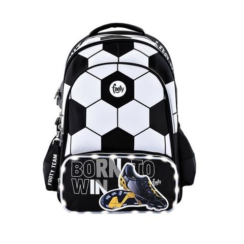 Mochila Footy Futbol c/luz 18 F1103 Negra y blanco