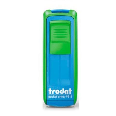 Sello 3 Líneas + Aparato Trodat Pocket 9511 Verde y Azul