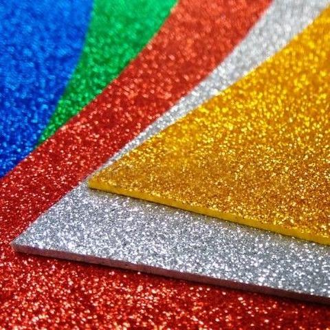 Goma Eva 2mm 40x60 Glitter (sin Adhesivo) (medidas aprox.)