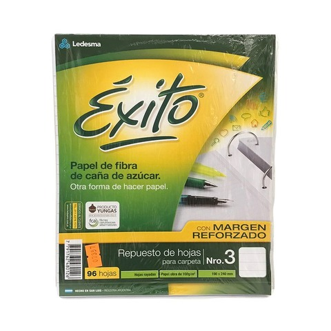 Repuesto Nº3 Exito x96 Hojas Rayado
