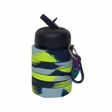 Botella Reutilizable Footy Silicona Plegable azul y fluo