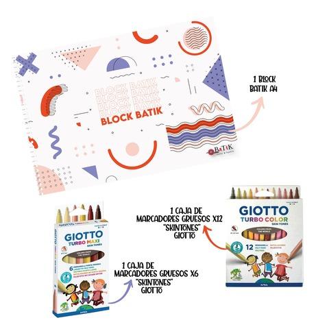 Block A4 Batik Kit con Marcadores SkinTones