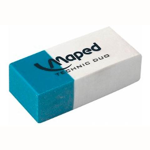 Goma de Borrar Lápiz-Tinta Maped Duo Azul-Blanca