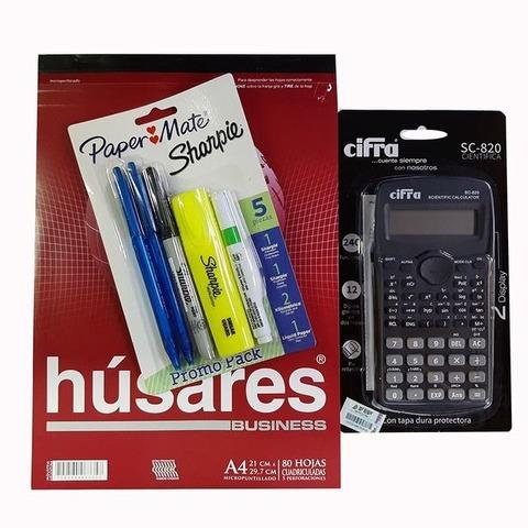Promo calculadora Cientifica Cifra + Block + Set sharpie - Paper mate (calculadora negra)