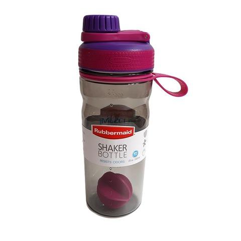Botella Reutilizable Rubbermaid 600ml Shaker Violeta y fucsia