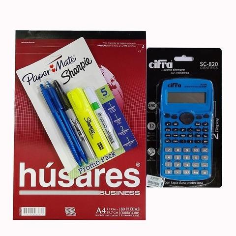 Promo calculadora Cientifica Cifra + Block + Set sharpie - Paper mate (calculadora celeste)