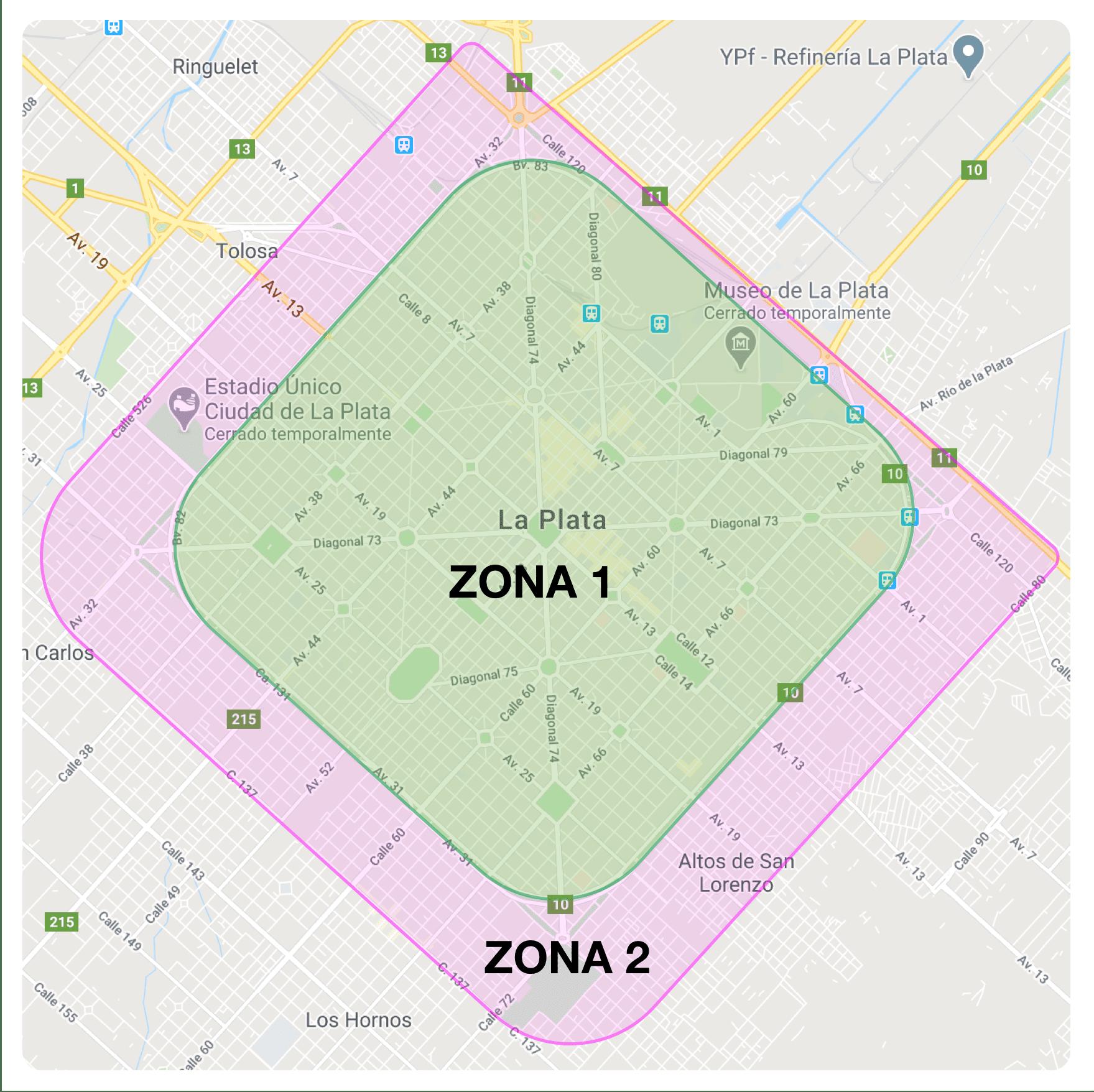 Zonas de envíos 1 y 2