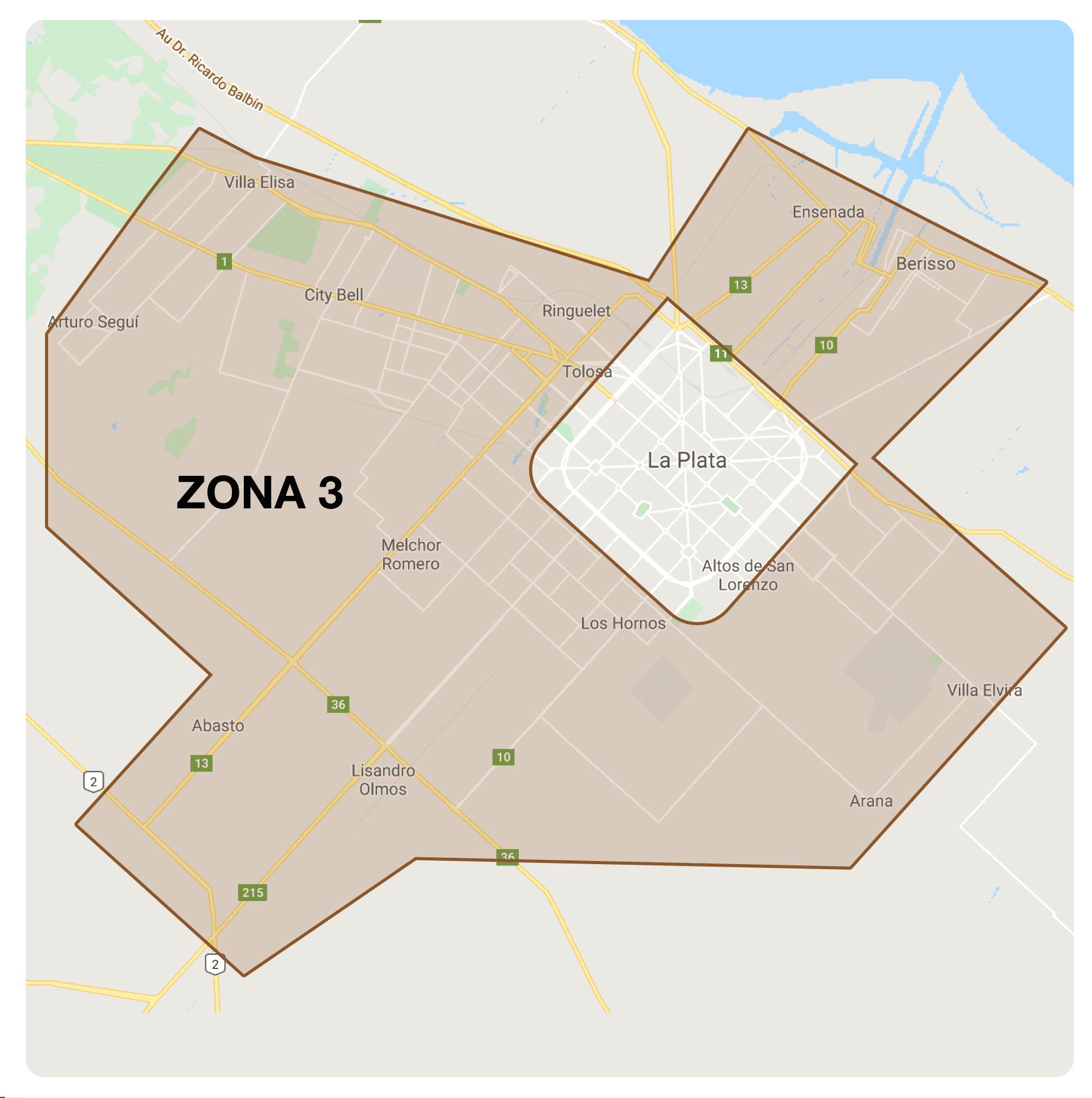 Zona 3 de envíos