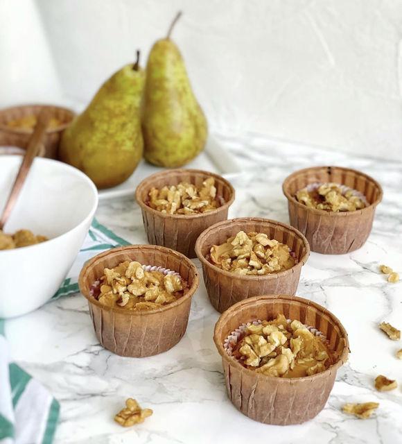 Muffins de pera y nueces sin harina