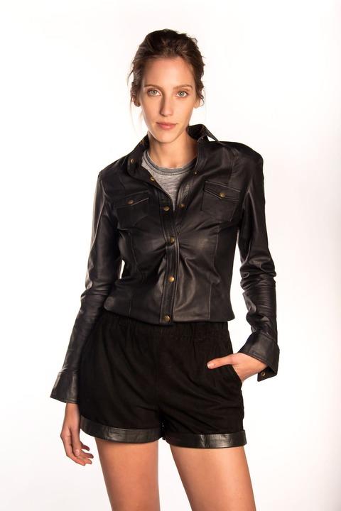 Camisa Cala Cuero Negro