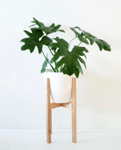 Maceta XL con pie de madera alto
