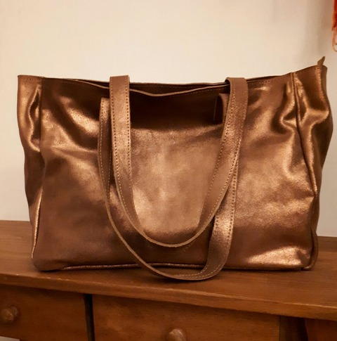 Tote Bag YANEL de Gamuza color cobre